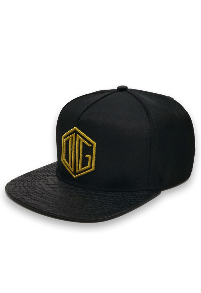 black and gold embroidery snapback hat