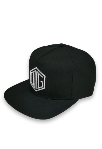 black and white embroidery snapback hat