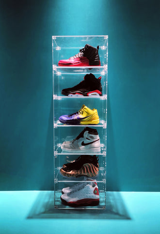 collapsible magnetic acrylic sneaker shoe display case box