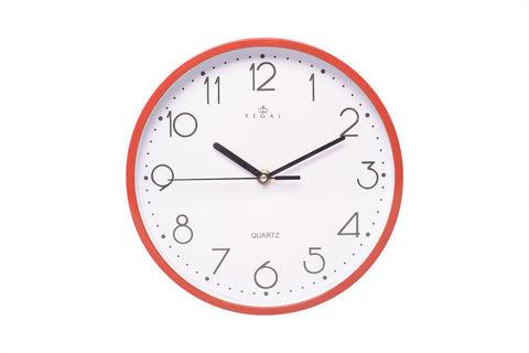 "Regal 10"" Red Plastic Wall Clock 