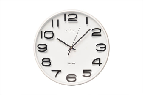 "Regal 13"" White Plastic Wall Clock 