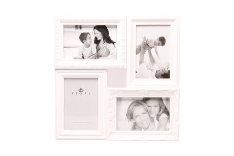 Regal 4in1 White Ornate Plastic Multi Frame | Regal Frames