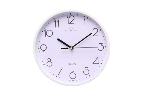 "Regal 10"" White Plastic Wall Clock 