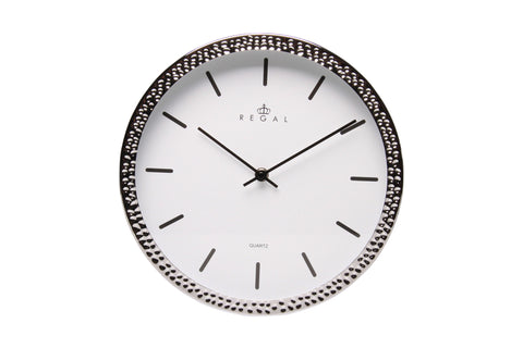 "Regal 11"" Silver Hammertone Wall Clock 