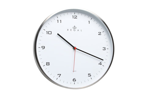 "Regal 12"" Stainless Steel Clock 