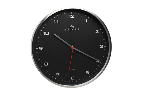 "Regal 12"" Stainless Steel Black Clock 