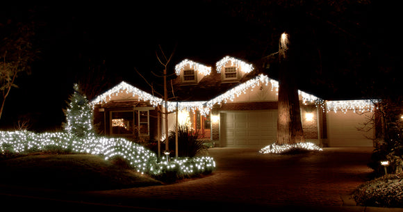 240 Led Snowing Icicle Lights Cool White