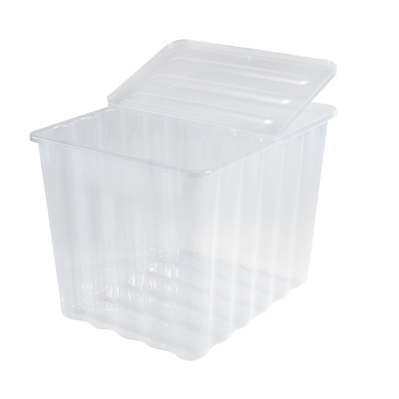 28L Storage Box Clear With Folding Lid