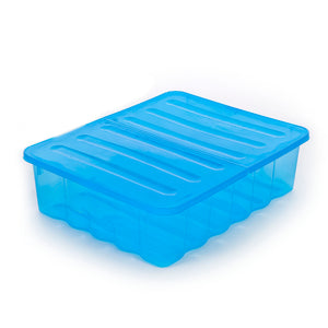 30L Underbed Storage Box Blue Tint With Folding Lid