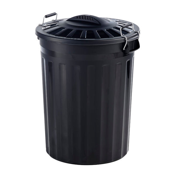 80L Clip Lid Bin With Handles Black