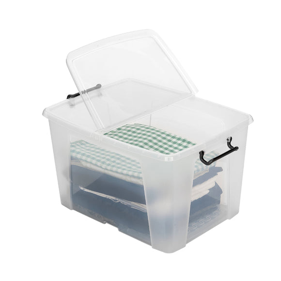 40L Smart Storemaster Box W/Clip Handles Clear