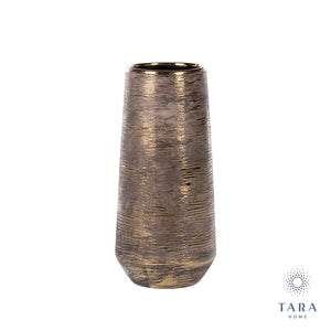 Ancona Ceramic Vase Linear Gold 33cm
