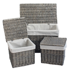 Grey Wicker Set Of 3 Trunks W/Lining