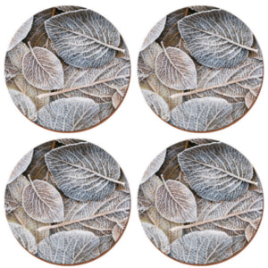 Frosted Leaves Pack of 4 Round Coasters