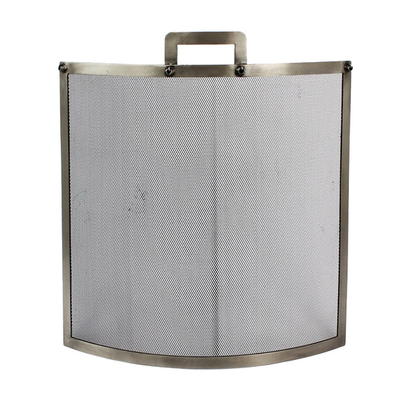 Industrial Pewter Fire Screen