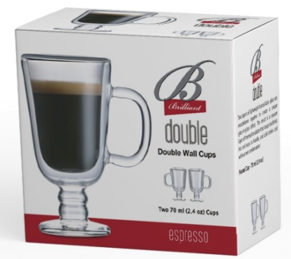 Brilliant Double Double Footed Mug 70ml Set of 2
