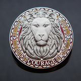 Courageous Lion Geocoin: Red/Yellow