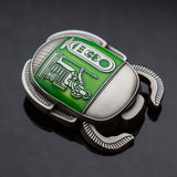 Egyptian Scarab Geocoin: Antique Silver/Green