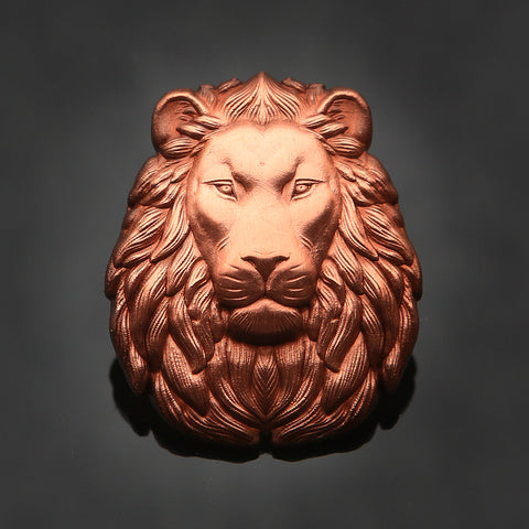 3D Lion Head Pin: Antique Copper
