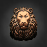 3D Lion Head Pin: Antique Gold
