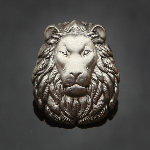 3D Lion Head Pin: Antique Silver