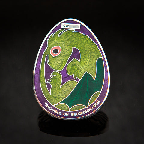Dragon Egg Geocoin: Shiny Silver/Green/Purple