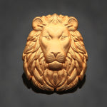 3D Lion Head Pin: Satin Gold