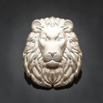 3D Lion Head Pin: Satin Silver