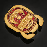 XLE Egyptian Scarab Geocoin: Satin Gold/Red