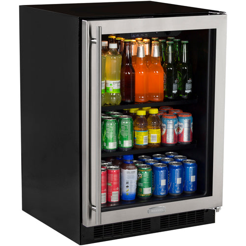 Marvel 24-Inch Right Hinge Beverage Center With Stainless Frame Glass Door -
