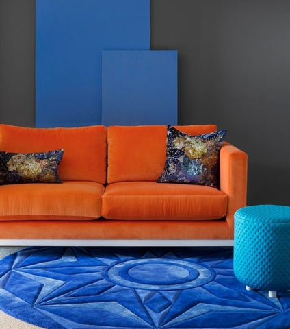 Orange and Blue Lounge and Rug