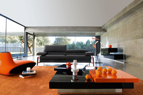 Contemporary Grey and Orange Lounge Room