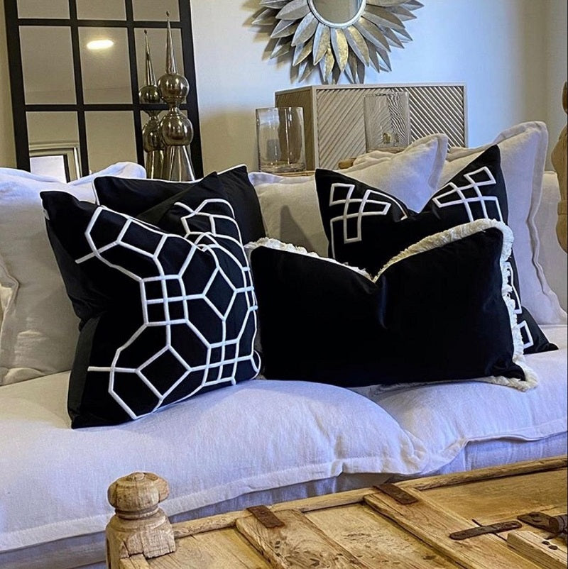 San Diego Black 55cm Cushion Cover-Bibilo