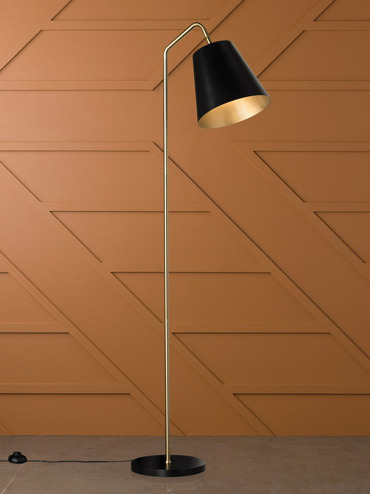 Soma Floor Lamp Black Gold-Bibilo