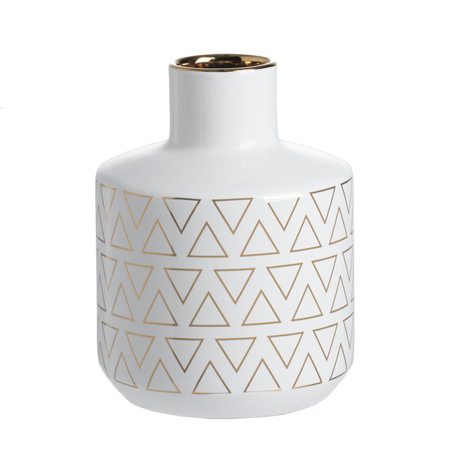 Geo Vase Small White/Gold-Bibilo