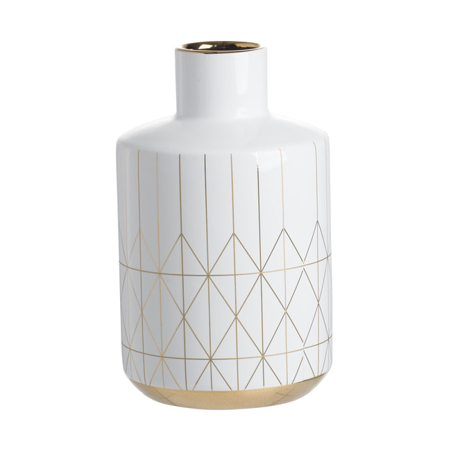 Geo Vase Large White/Gold-Bibilo