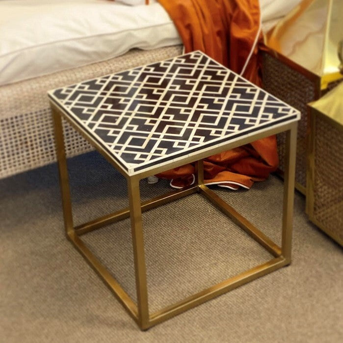Grosvenor Bone Inlay Side Table Black-Bibilo