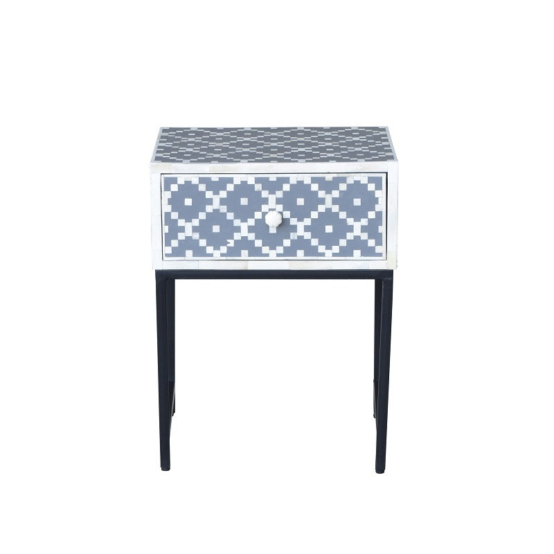 Chelsea II Bone Inlay Side Table Grey-Bibilo