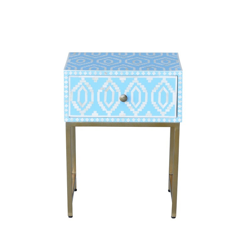 Chelsea I Bone Inlay Side Table Blue-Bibilo
