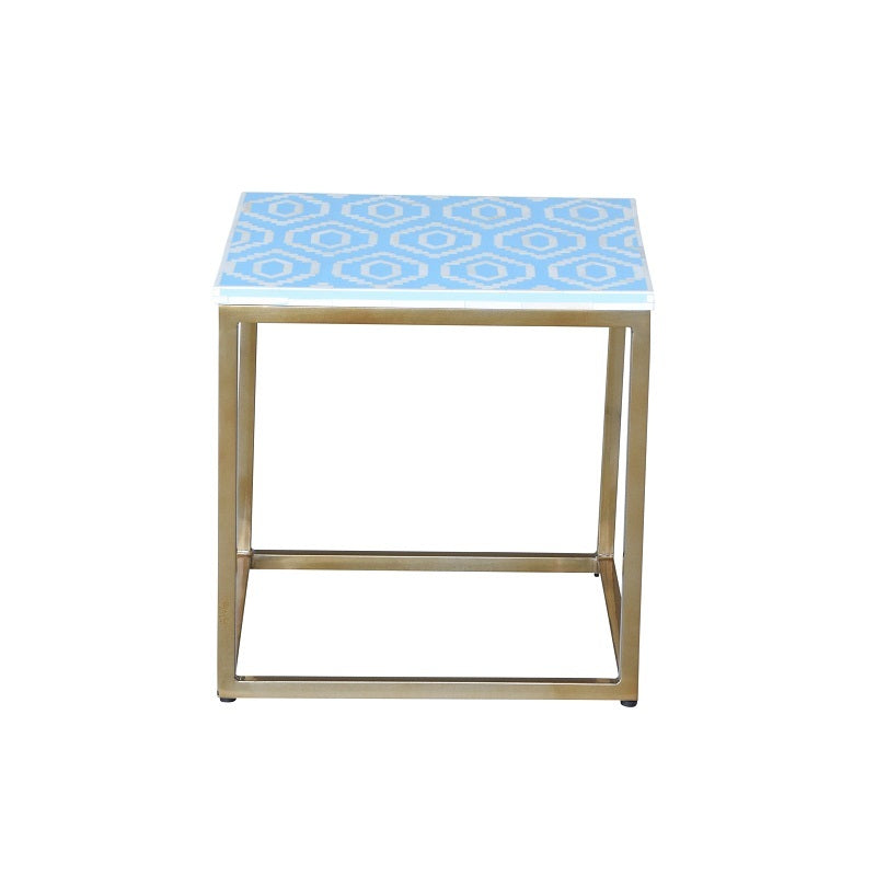 Grosvenor I Bone Inlay Side Table Blue-Bibilo