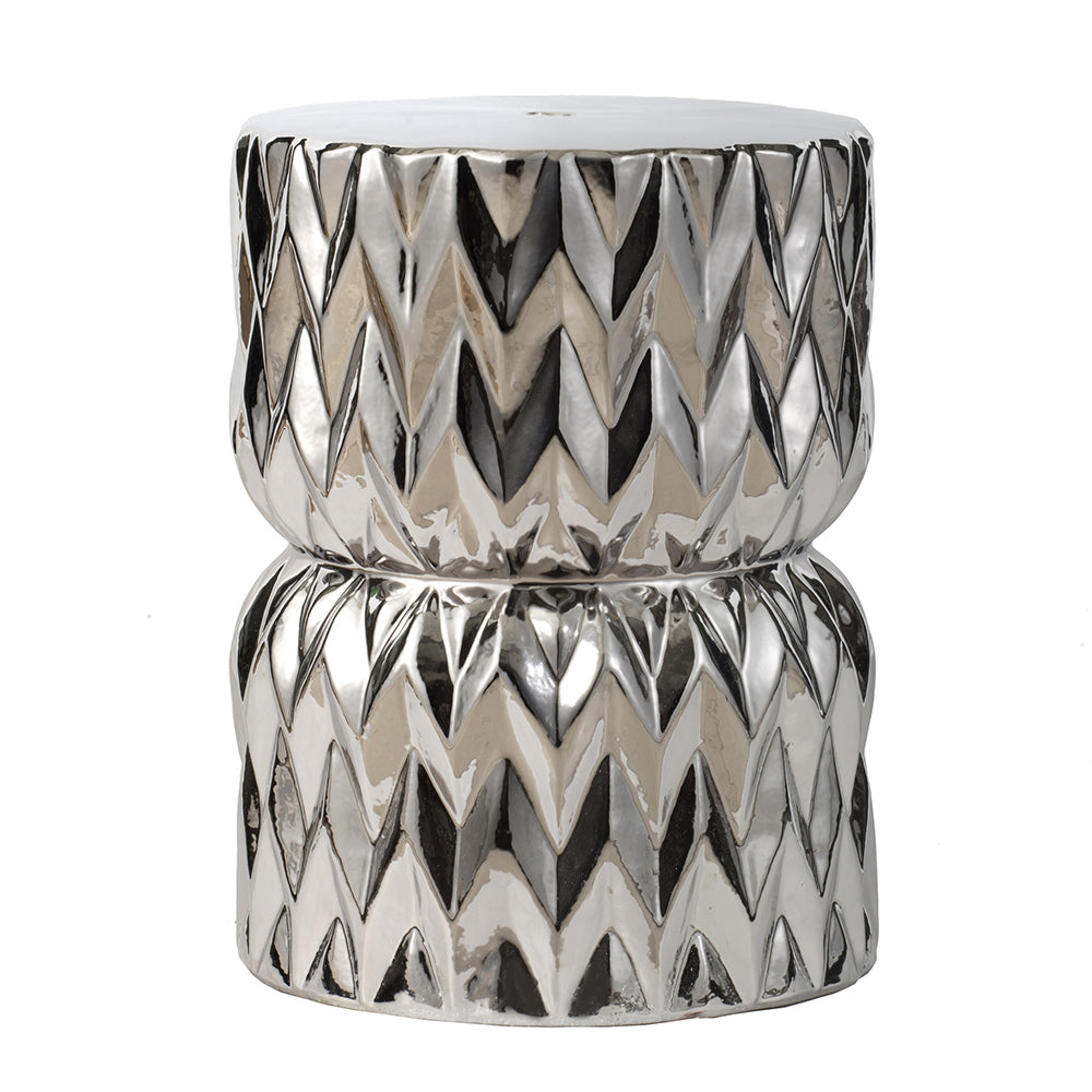 Diamond Ceramic Stool Silver-Bibilo