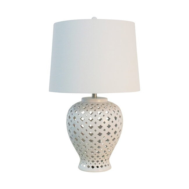 Lattice Tall Table Lamp Antique White-Bibilo