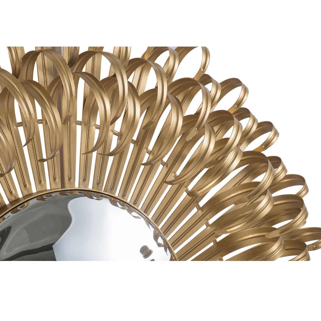 Curls Round Wall Mirror Gold-Bibilo