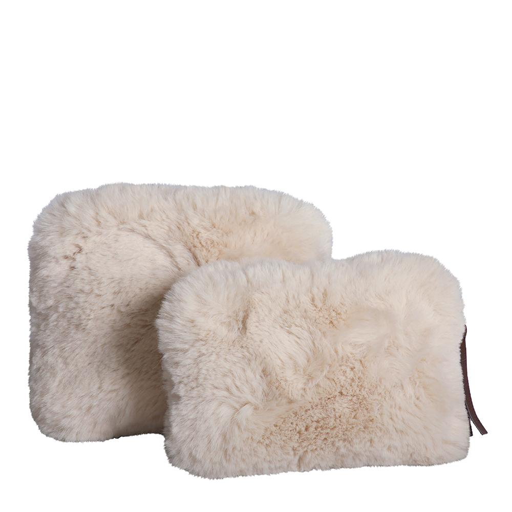 Plush Faux Fur Cosmetic Purses Set of 2 Natural-Bibilo