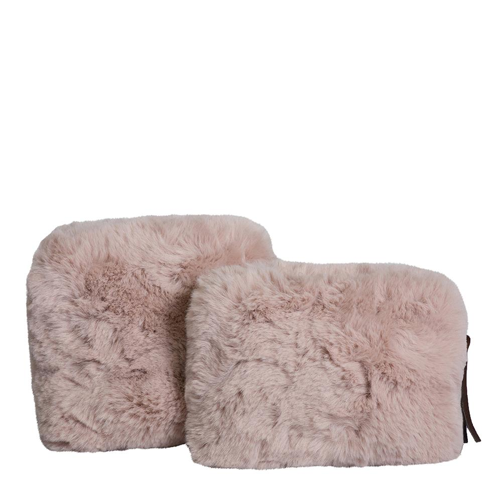 Plush Faux Fur Cosmetic Purses Set of 2 Blush-Bibilo