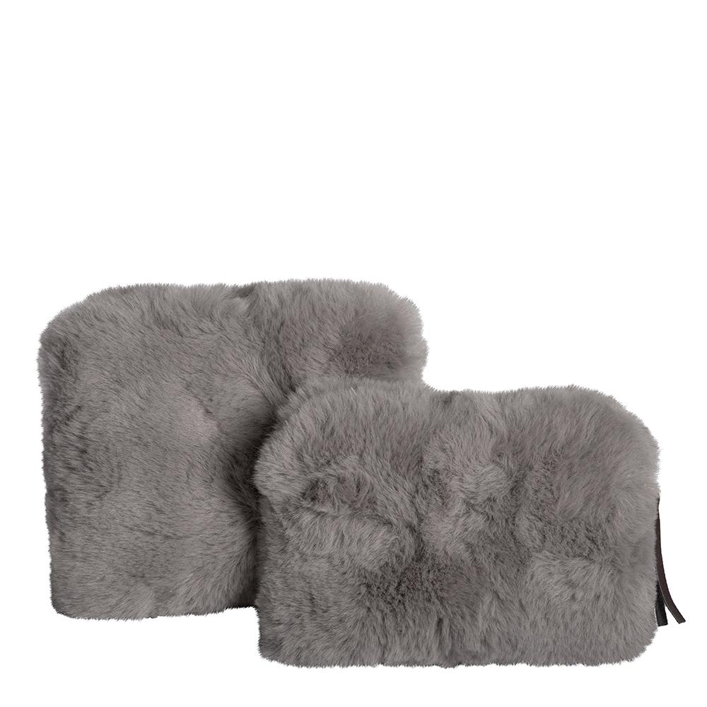 Plush Faux Fur Cosmetic Purses Set of 2 Silver-Bibilo