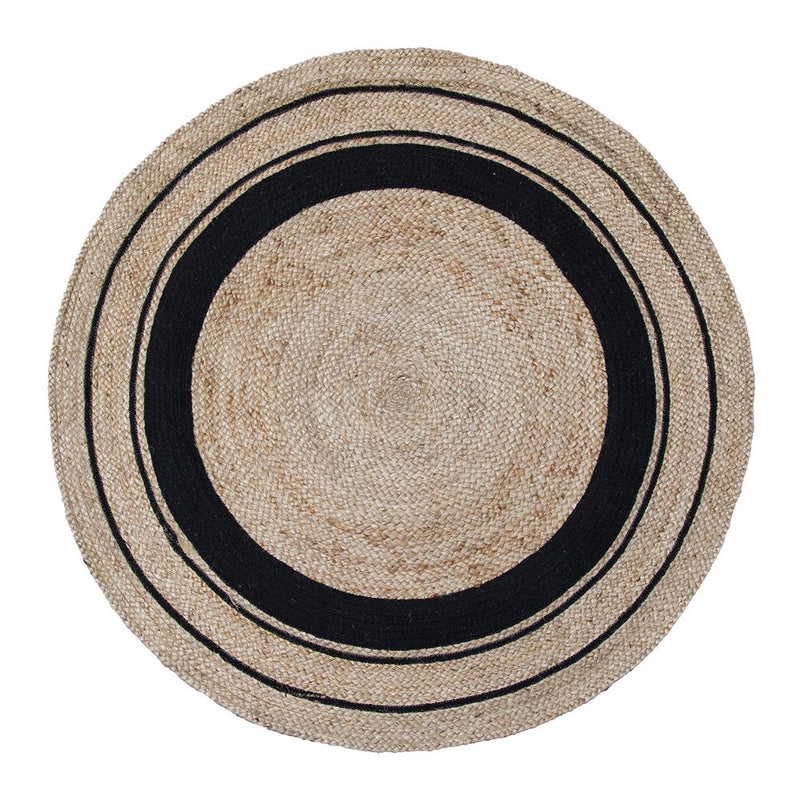 Harrison Round Jute Rug Black Natural-Bibilo