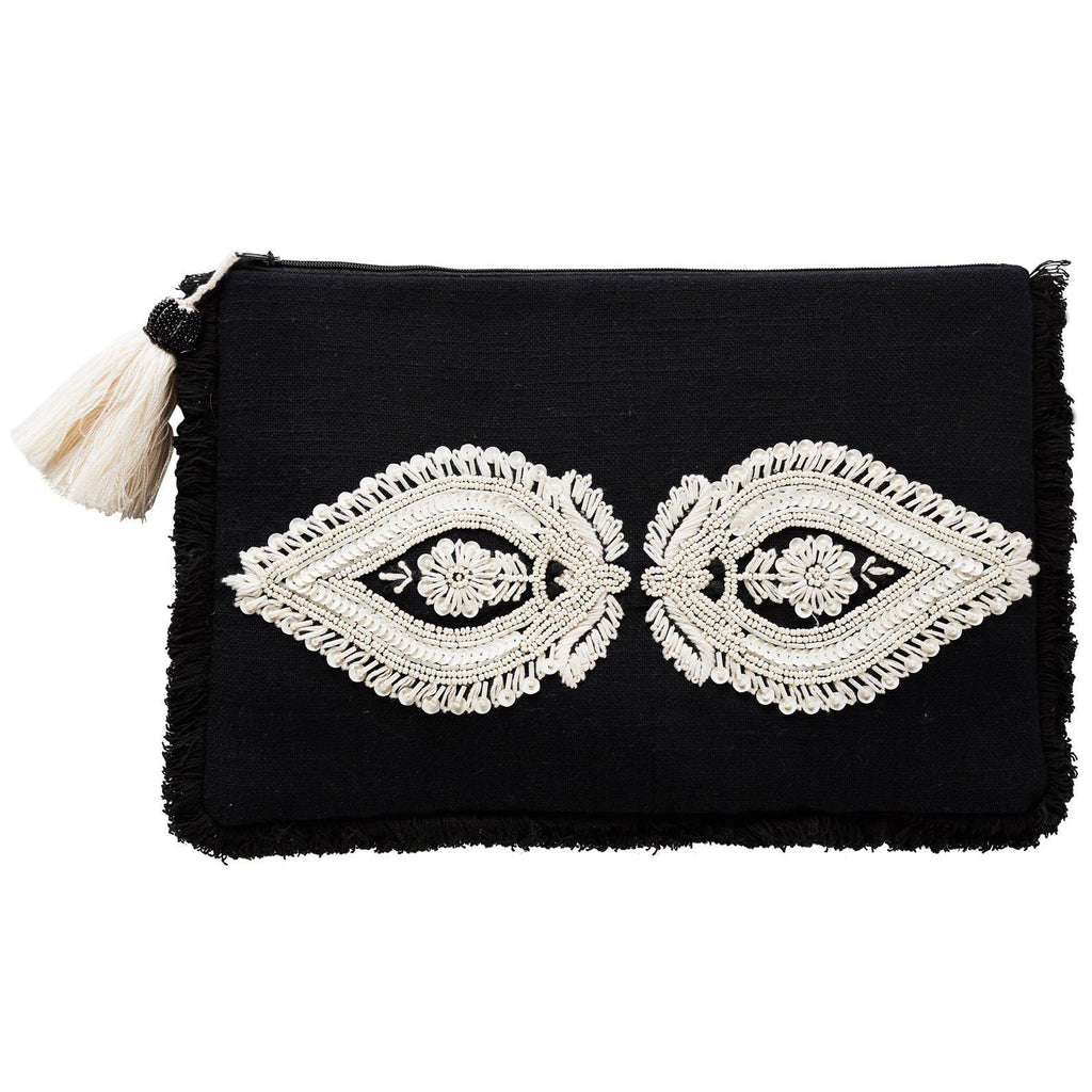 Bartley Caraway Clutch - Black & Ivory-Bibilo