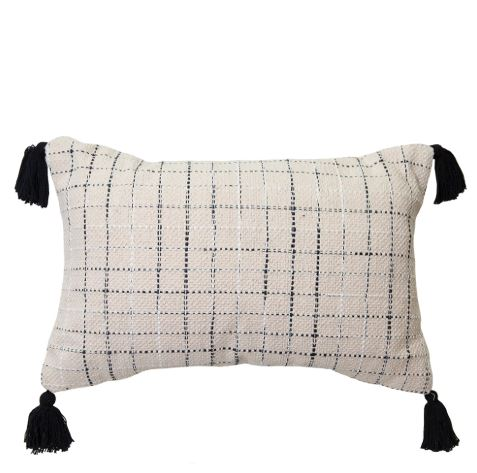 Alley Rectangle Cushion Natural/Black Set of 2-Bibilo
