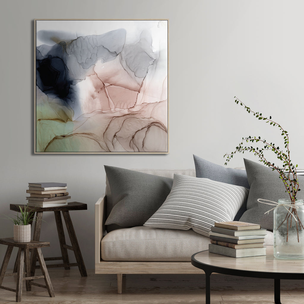 Blush Framed Canvas Print by Fern Siebler-Bibilo